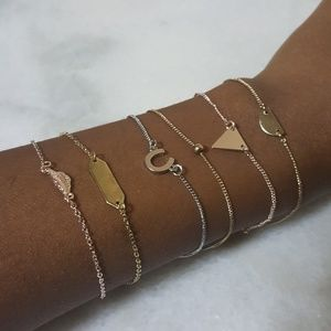 Jewelry - Large Dainty Tri-tone Bracelet Set